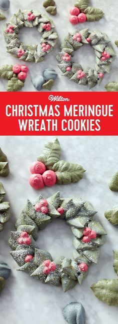 Meringue cookies are a great addition to any holiday cookie platter, and these Christmas Wreath Meringue Cookies are no exception. Use tip 366 to pipe a ring of green leaves, then fill in with clusters of red berries for a sweet holiday touch. Christmas Wreath Cookies, Christmas Sweets, Christmas Cooking, Noel Christmas, Christmas Goodies, Holiday Cookies, Holiday Treats, Christmas Wreaths, Holiday Recipes