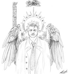 "bamf-castiel: "" quick Cas sketch I did for a little warm up xD Don't ask, this floating eye just….happened. """