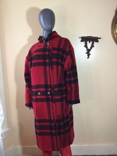 Buffalo plaid blanket coat ll bean made by 3GenerationCuration  #vintage #thrift #fashion #wool #plaid #winter #coat #buffalo #rad