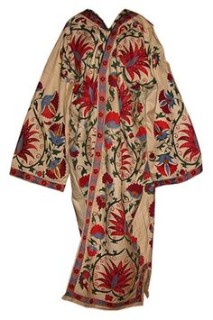 of Central Asia: Uzbekistan, Tajikistan, Kazakhastan- Embroidered silk suzani robe bukhara - $499. You can get these ever-so-cheap on ebay, and they are gorgeous.