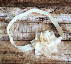 Ivory Kanzashi Flower Elastic Headband by PinkSunshinePretties on Etsy