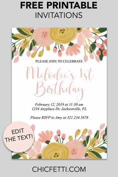 Most up-to-date Images Birthday Invitations free printable Ideas Are you aware that you will discover over 31 million mere seconds inside 1 year? Free Birthday Card, Free Birthday Invitation Templates, Free Printable Birthday Invitations, Printable Templates, Party Printables, Free Party Invitations, Invitation Card Party, Free Printables, Do It Yourself Decoration