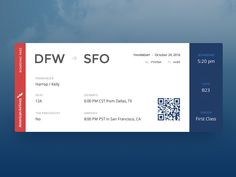Boarding Pass :: Daily UI - 024 designed by Kelly Harrop. Connect with them on Dribbble; User Interface Design, Ui Ux Design, Brochure Design, Graphic Design, Site Inspiration, Aviation Theme, Ticket Design, Daily Ui, Music App