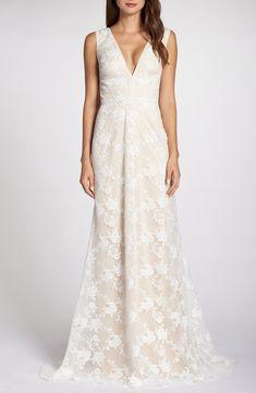 0acdffc4fa2 Tadashi Shoji V-Neck Lace Wedding Dress