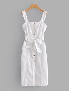 Shop Button Through Self Tie Dress online. SHEIN offers Button Through Self Tie Dress & more to fit your fashionable needs. Dress Outfits, Girl Outfits, Fashion Dresses, Cute Outfits, Stylish Outfits, Cute Dresses, Casual Dresses, Summer Dresses, Shift Dresses