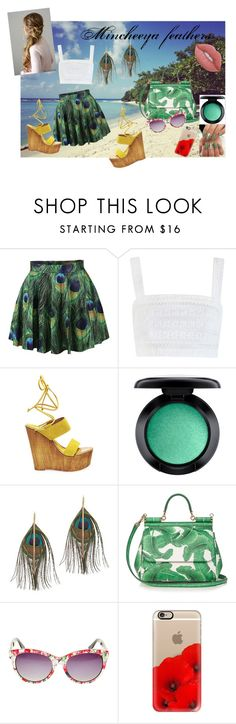 """Mincheeya feathers"" by mincheeya ❤ liked on Polyvore featuring Zimmermann, Steve Madden, MAC Cosmetics, Serefina, Dolce&Gabbana, Betsey Johnson, Casetify and Lime Crime"
