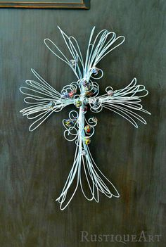 Large Galvanized Wire Cross by rustiqueart on Etsy,