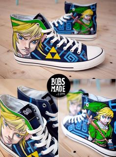 Custom Legend of Zelda Sneakers - Created byBobsmade Visit theBobsMade Shopto place your own custom order, and be sure to follow Bobsmade onFacebookandTumblr!