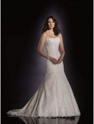 Mermaid Satin Pleated Satin Back Bodice Softly Curved Neckline Chapel Length Train Wedding Dresses (JC21027)