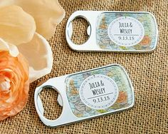 Maps Design Personalized Epoxy-Domed Chrome Bottle Openers