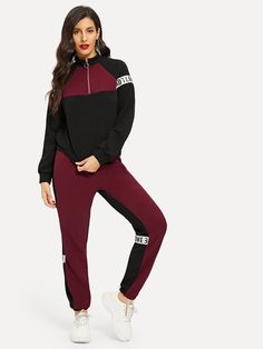 ROMWE Letter Tape Color-Block Sweatshirt Sweatpants Set 2019 Stand Collar Black Women Cool Long Sleeve Spring Autumn Two Piece - black,xs Romwe, Only Play, Ankle Length Pants, Women Sleeve, Two Piece Outfit, Models, Clothing Co, Long Sleeve Crop Top, Fashion Pants