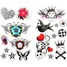GRASHINE Look like real 1 package with 2pcs waterproof swallow flower red heart flower star skull fake and realistic temporary tattoos ** Check out this great product. (This is an affiliate link and I receive a commission for the sales) #Makeup