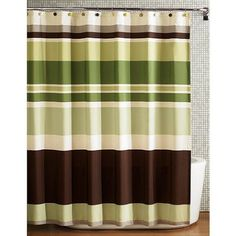 Beautiful Green Brown Stripe Fabric Shower Curtain: Amazon.com: Bedding & Bath