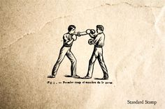 Men Boxing Rubber Stamp
