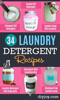 Looking to learn how to make homemade laundry detergent? We found 34 of the best DIY laundry soap recipes for you to try. Non-toxic, even borax free versions yo Trash To Couture, Laundry Detergent Recipe, Homemade Laundry Detergent, Deep Cleaning Tips, Cleaning Hacks, Cleaning Supplies, Cleaning Painted Walls, Safe Cleaning Products, Cleaning Tips