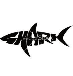 Shark typography vector image on VectorStock Typography Drawing, Typography Logo, Typography Design, Lettering, Art Surf, Shark Logo, Shark Shark, Shark Week, Shark Silhouette