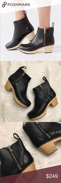 Black Zip It Emy Boots Sz 39 | Swedish Hasbeens Great condition. Size 39. Minimal wear on soles. Exterior zip. Heel has some small nicks (see photo) but no deep scratches or tears in leather. Does not come with box. Swedish Hasbeens Shoes Ankle Boots & Booties