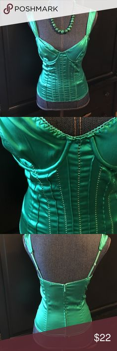 Marciano emerald green corset Beautiful Emerald Green Corset. 94% silk & 6% spandex. Used but like new condition. Marciano Intimates & Sleepwear Shapewear