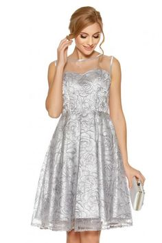 7eb1e489625 Grey Sequin Mesh Sweetheart Neck Dress