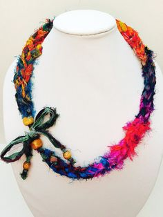 Recycled Sari ribbon necklace and wrap bracelet by TheCreativeBee, $23.00