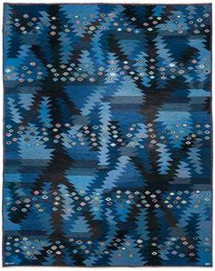 "scandinaviancollectors: "" BARBRO NILSSON, Tånga Blå, tapestry weave rug (1955). Material hand-woven wool, manufactured by Ab Märta Måås-Fjetterström, Sweden. / Pinterest """