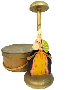 Art Deco Hat Stand Holder, Wood, Hand Painted Woman with Fan, Millinery Shop Display, Vintage Vintage Hat Boxes, Vintage Candy, Vintage Wood, Hat Stands, Gowns Of Elegance, Art Deco Era, Art Deco Jewelry, Gold Paint, Art Deco Fashion