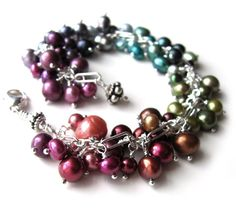 Colorful Freshwater Pearl Dangle Bracelet with Sterling Silver