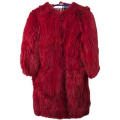 SIMONETTA RAVIZZA fox fur pull-over coat (€2.655) ❤ liked on Polyvore featuring outerwear, coats, jackets, fur, red coat, fox fur coat, red fox fur coat, over coat and red overcoat