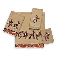 Bath towels are inspired by classic icons of the southwest. The kokopelli, lizard, deer and tortoise motifs of these towels against a rattan-colored ground are accented with a southwestern border adding a rich, warm touch to your bathroom decor.
