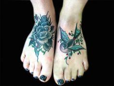 Rose Foot Tattoos for Women
