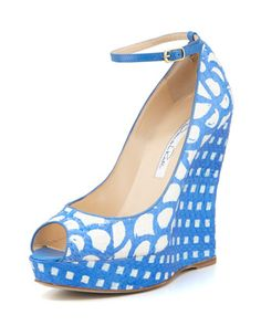 Had2B@100% MO  Alaly Snakeskin Wedge Sandal, Ocean/White by Oscar de la Renta at Neiman Marcus Last Call.