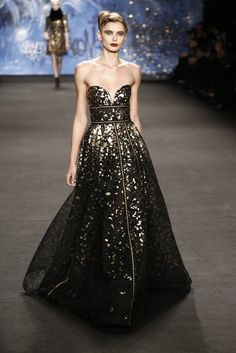 """In his show notes, Naeem Khan said of the 10th anniversary of his showing at New York Fashion Week, """"the journey has been not only about the beautiful clothes but also about the people that have become an integral part of this art, from traditional artisans in India to luxury European fabric makers."""" [Photo by Thomas Iannaccone]"""