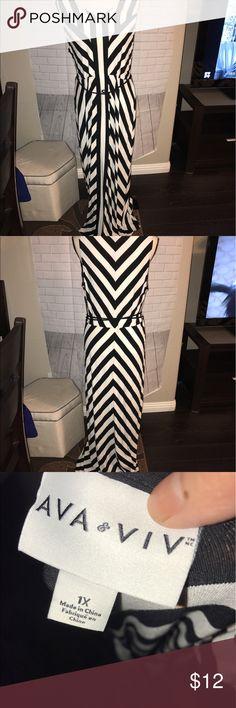 Ava Viv black and white white Maxi dress 1X Preowned no damage 1X floor length dress beautiful and soft and comfy Ava & Viv Dresses Maxi