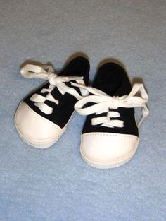 """3"""" Black/White Tennies, Main Product Category, CR's Crafts - Largest Variety of Doll Supplies and Bear Supplies ANYWHERE!"""