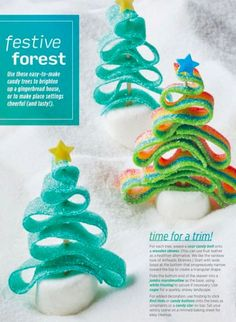 """""""Festive forest"""" from Allrecipes Dec 2017 / Jan Read it on the Texture app-unlimited access to 200 top magazines. Homemade Gingerbread House, Cool Gingerbread Houses, Gingerbread House Designs, Gingerbread House Parties, Gingerbread Village, Christmas Gingerbread House, Christmas Sweets, Christmas Cooking, Christmas Goodies"""