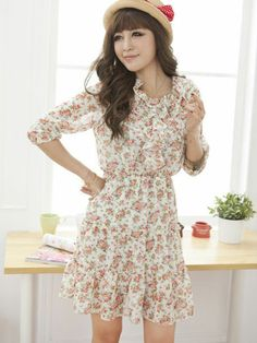 V-neck Flower Printed Chiffon Dress