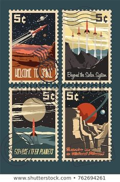 Vintage Space Postage Stamps Stylization Under Stock Vector (Royalty Free) 762694261 Printable Stickers, Cute Stickers, Postage Stamp Design, Posca Art, Vintage Space, Vintage Stamps, Journal Stickers, Aesthetic Stickers, Book Design