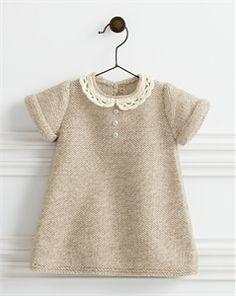 Babies Knitting Patterns Lace Collar Dress Pattern - $12