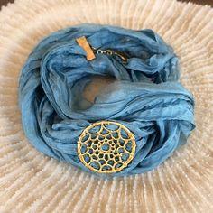 Silk wrap bracelet, Blue Boho silk wrap, Blue ribbon wrap bracelet with charm, Yogo bracelet