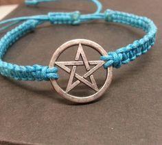 Blue Woven Cord Pentagram Bracelet by PurrfectPendant on Etsy