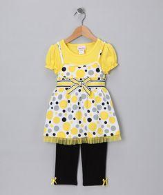Yellow Polka Dot Jumper with Leggings