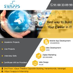 SVAPPS is a high-quality Software Training Institute in Warangal, Hanamkonda, Kazipet at an affordable price. Learn courses from industry experts. Interview Skills, Web Project, Training Courses, Get The Job, App Development, Hyderabad, Mobile App, Digital Marketing, Software
