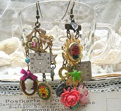 mismatch mosaic earring assemblage cameo by lilyofthevally on Etsy