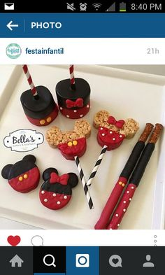 Minnie and mickey mouse treats