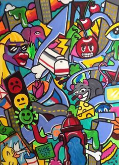 steph-burr | PAINTINGS #painting #colorful #graffiti #wildstyle #maximalism