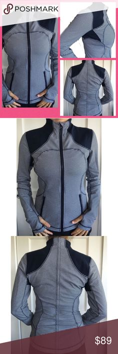 """Lululemon Forme Jacket navy & white gingham This jacket makes your figure look amazing (while you are getting a serious workout, of course, or are shopping for groceries, out with the kids, etc.) The jacket features cuffings sleeves to keep your hands warm, breathable mesh under the arms to keep the ventilation going and zippered pockets. Size tag is removed, but is a small (6). Measurements: shoulder to shoulder 14"""", 35"""" bust, length 25"""", 28"""" waist. lululemon athletica Jackets & Coats"""