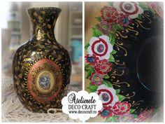 Obiecte decorate cu foita metalica, hartie Decoupage si culori acrilice, la…