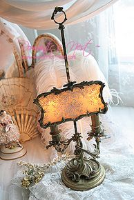 antique french bronze lamp screen brussels lace