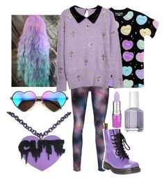 """pastel goth : lilac"" by sunshine-moon ❤ liked on Polyvore featuring Wildfox, Dr. Martens, Lime Crime, Essie, women's clothing, women's fashion, women, female, woman and misses"