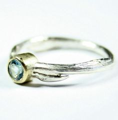 Sterling Silver Cast Willow Ring with Topaz